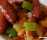 PINEAPPLE SAUSAGE BAKED BEANS