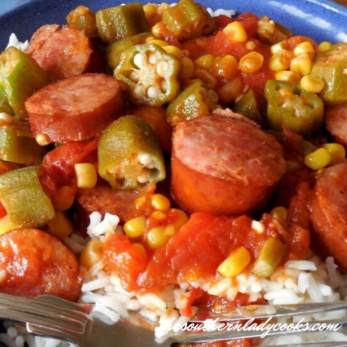 Smoked sausage, Tomatoes and Okra Skillet - The Southern Lady Cooks