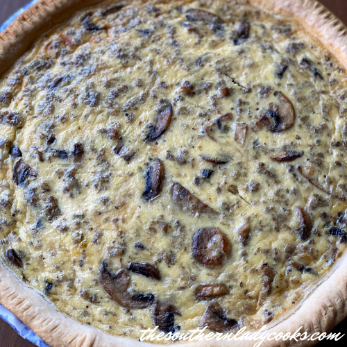 Sausage Mushroom Quiche The Southern Lady Cooks