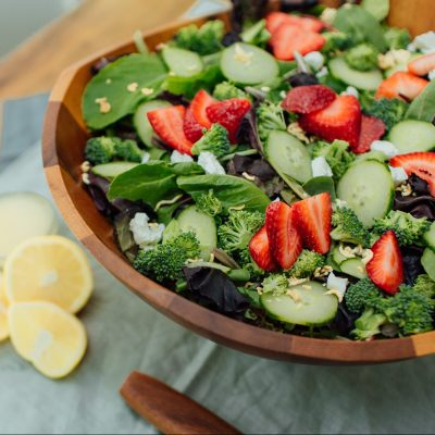 summer salad with strawberries and lemon vinaigrette