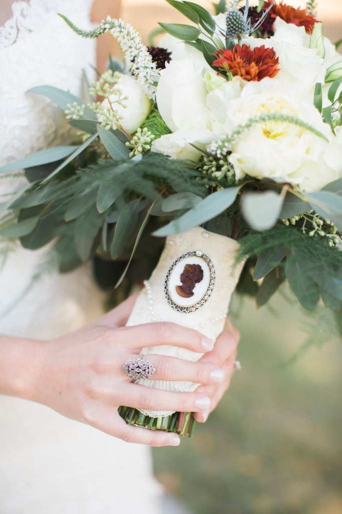 family heirloom wedding day bridal bouquet
