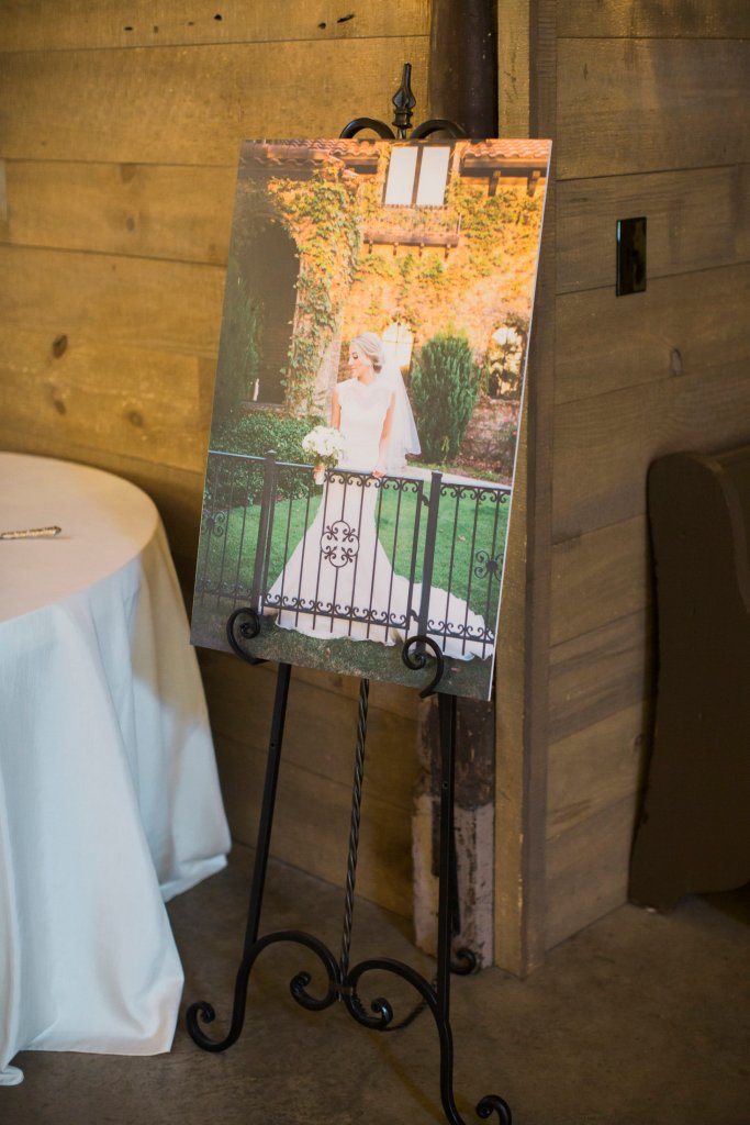 bridal photo on display at wedding reception