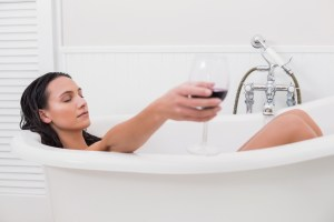 drinking red wine in the bath tub