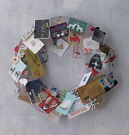 holiday card display wreath wire