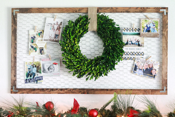 holiday card display framed chicken wire with wreath