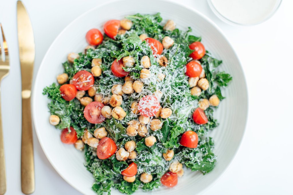 healthy salad recipes with kale caesar and lemon tahini dressing
