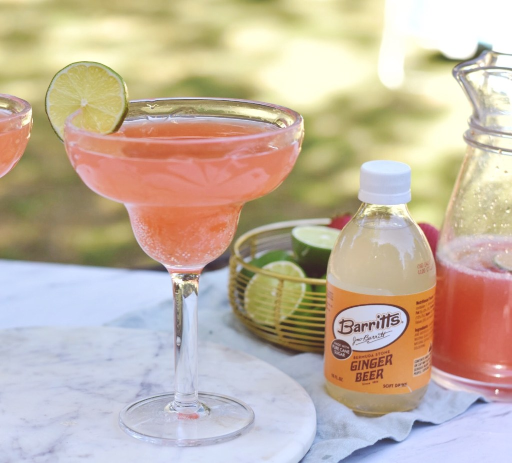 strawberry margarita on the rocks with ginger beer