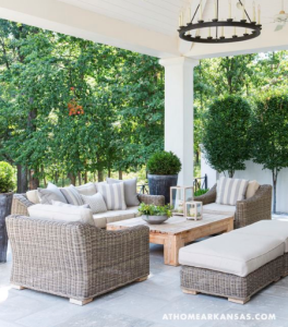 covered patio ideas with egg chairs