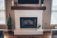 Modern White Brick Fireplace & Walnut Mantel DIY  The ...