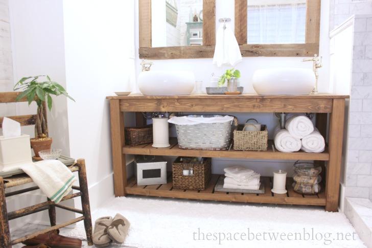 DIY Wood Vanity In The Master Bathroom