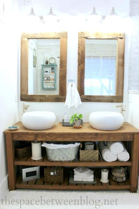 Diy Wood Vanity In The Master Bathroom The Space Between