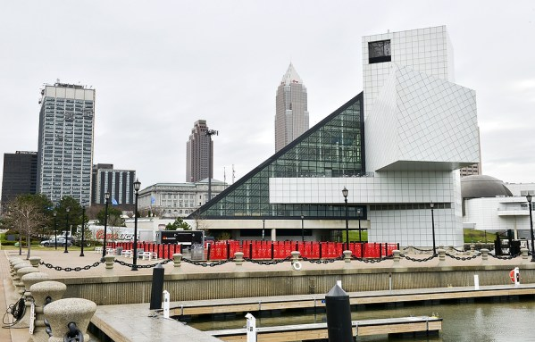 Back view of Rock and Roll Hall of Fame