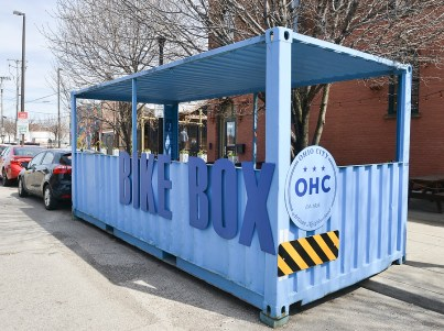 A Blue Box for bikes made from a shipping container