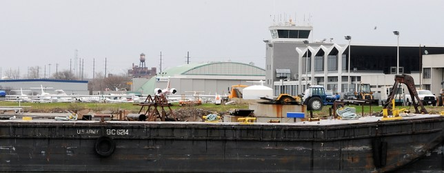 City airport on waterfront. Area was once all involved in shipping of steel products