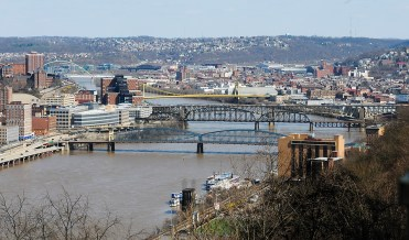 Looking along the Moongahela River. The city has over 500 bridges of every type.