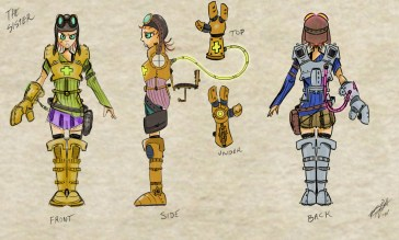 We had this concept for wearable armor the Spectra had. We wrestled with it a long time and ultimately gave it up. I spent a lot of time working out how it should look and never felt I got it right.