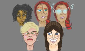 Playing with faces for the Spectra ladies.