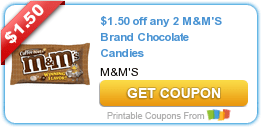 High Value $1.50 M&M's Chocolate Candy Coupon