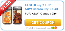 $1/2 7UP, A&W, Canada Dry or Squirt Soda Beverage Coupon