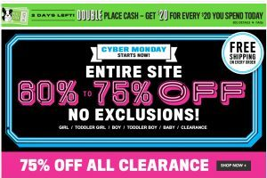 The Children's Place – Cyber Monday Sale – Entire Site 60-75% Off
