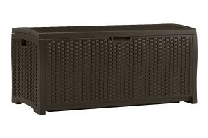 Suncast Mocha Wicker Resin Deck Box, 73-Gallon $67.59 (Regular $129.99)