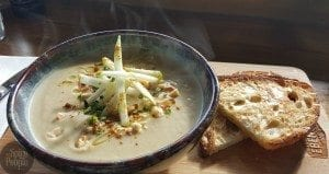 cream of celeriac soup with pear, hazelnuts and vadavam curry spice