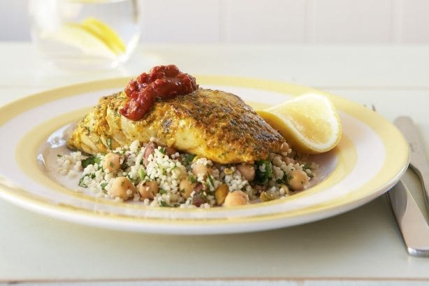 chermula crusted fish fillets with spicy salsa