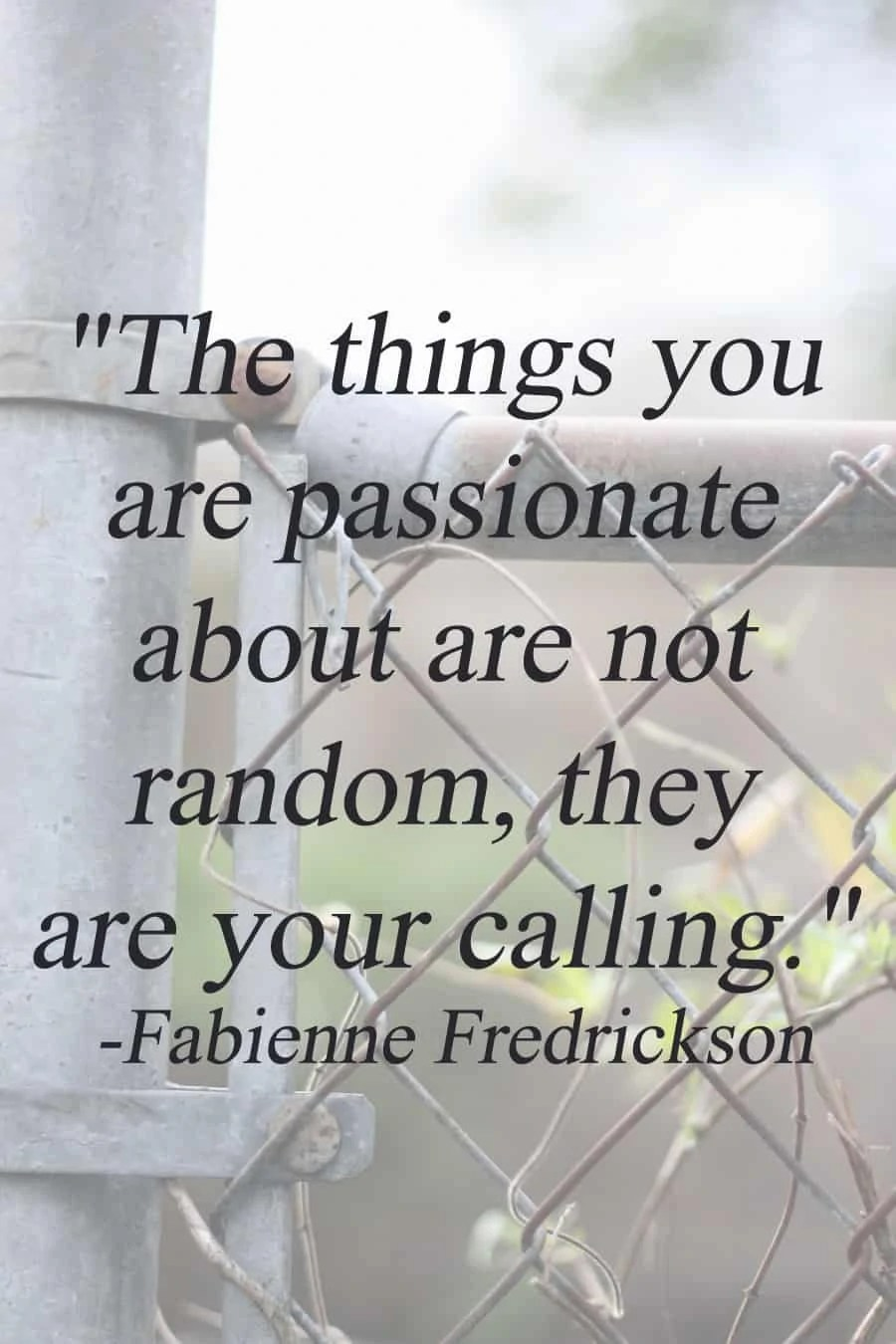 """""""The things you are passionate about are not random, they are your calling."""" - Fabienne Fredrickson   via The Spirited Violet"""