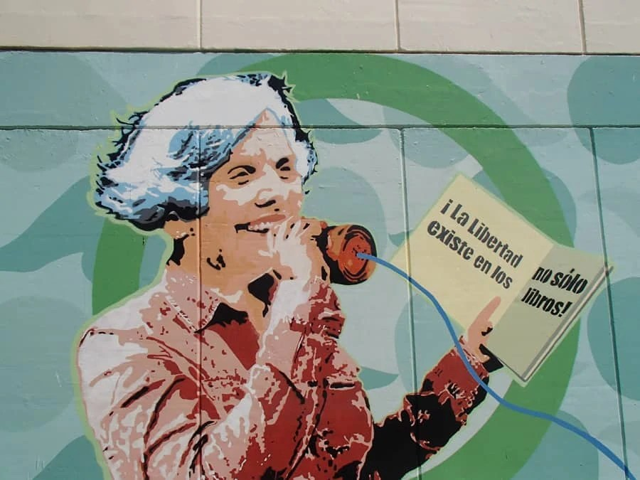"""A beautiful mural found on Universidad Autonoma """"Benito Juarez"""" De Oazaca."""" Many murals in Oaxaca, Mexico also expressed messages about political freedom. 