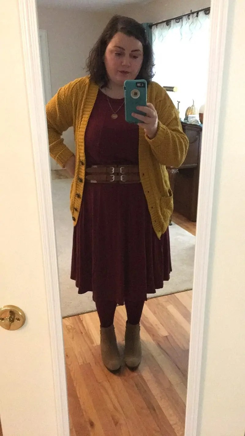 cardigan sweater from Amazon + dress from Amazon + belt + tights + Cougar boots | via The Spirited Violet