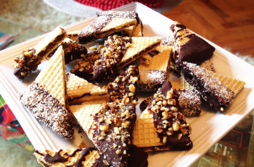 Chocolate Dipped Wafers With Nuts