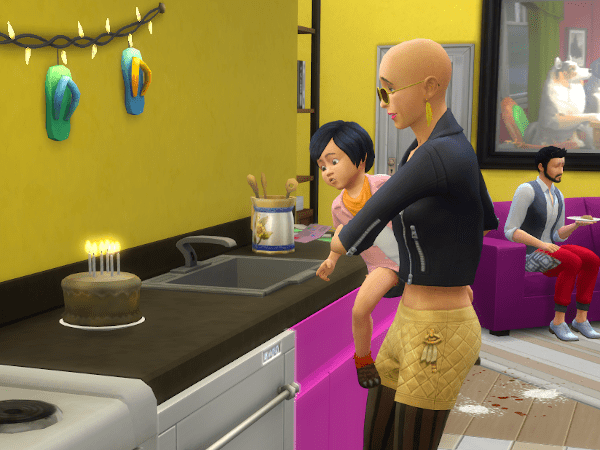 Sims parent helping a toddler blow out candles on a birthday cake