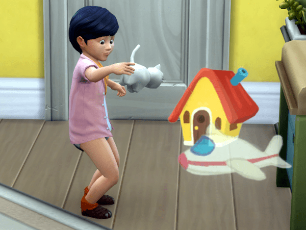 Sims toddler playing with toys