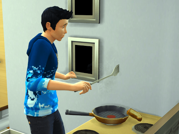 Teen boy Sim making a grilled cheese sandwich