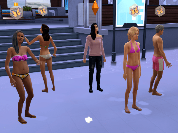 Members of the Sims 4 Paragon club standing outdoors in swimsuits