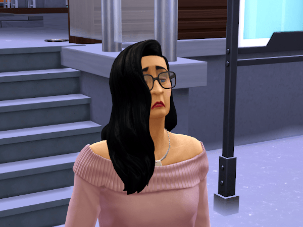 Sims 4 adult Sim looking very confused and unhappy