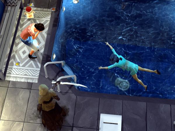 Sim dead in a swimming pool