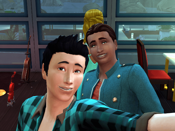 Two sims taking a selfie