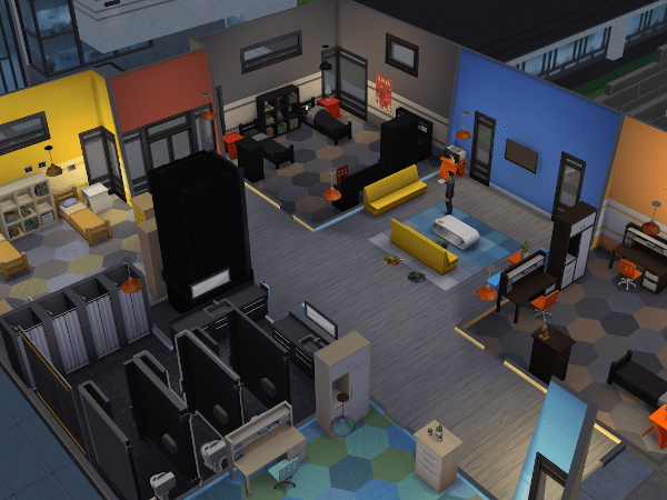 Sim in an empty dorm