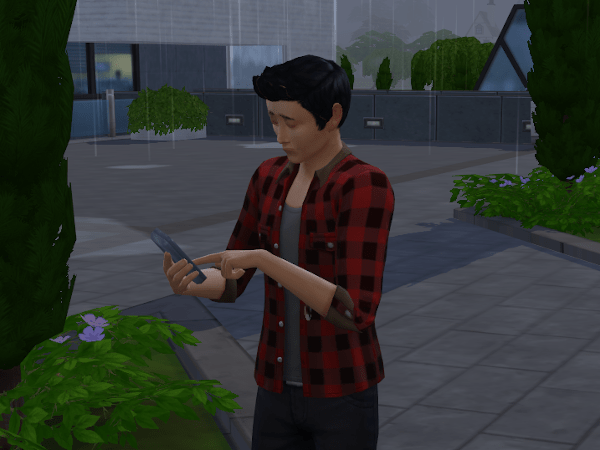 Sim using cell phone in the rain