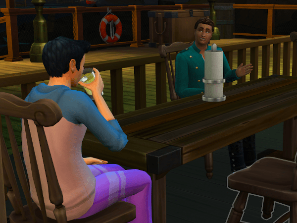 Two college sims hanging out at the bar off campus