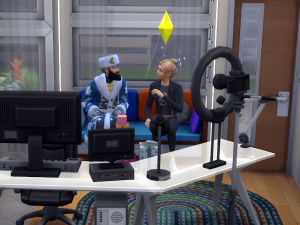 Sim chatting with Father Winter