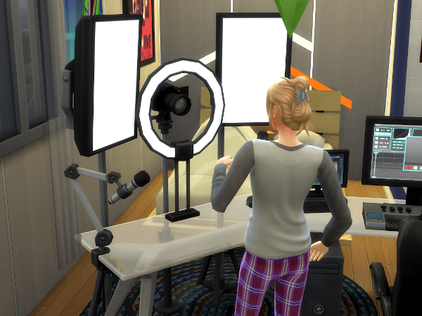 Sim using key lights at the video production station