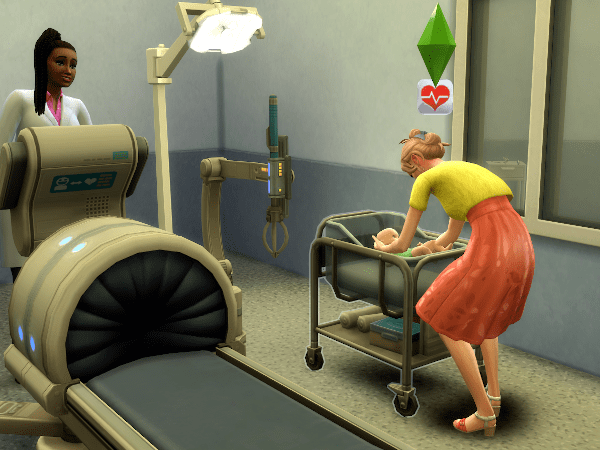 Mom Sim picking up her brand new baby