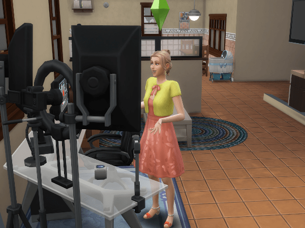 Female Sim recording a vlog in a southern california style home