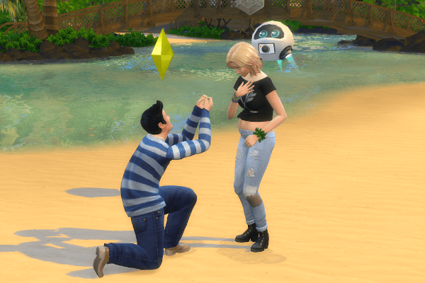 Sim proposing marriage on the beach in Sulani