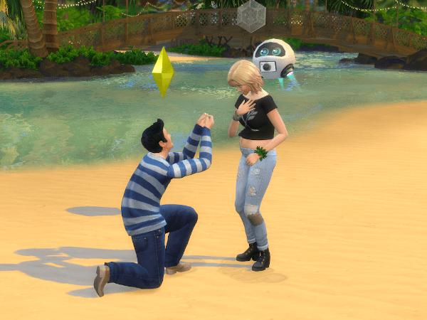 Sims 4 wedding proposal on the beach