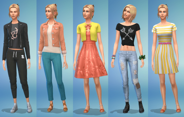 Sims 4 everyday fashion for a young adult female Sim