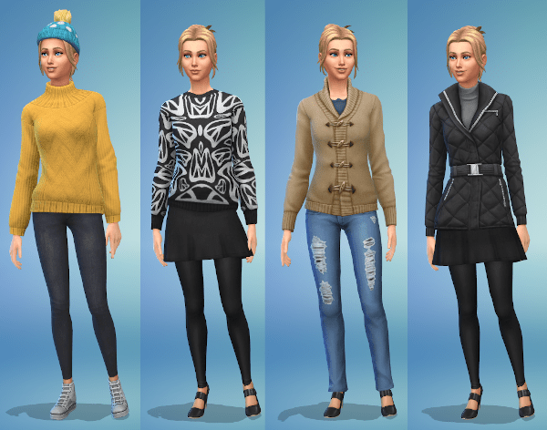 Sims 4 winter fashion for a young adult female Sim