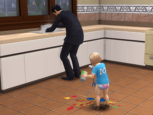 Sim washing dishes in a tux while a toddler makes a mess